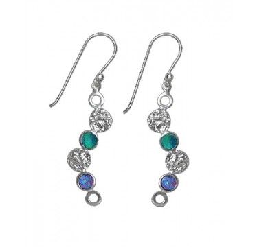 Silver and Opal Earrings - 6 Circles