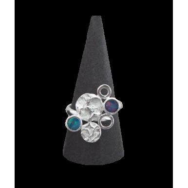 Silver and Opal Ring - 6 Circles
