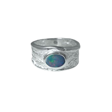 Opal Textured Band Ring