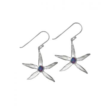 Silver Earrings - Star Lily Opal