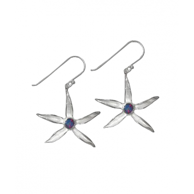 Silver Earrings - Star Lily Opal