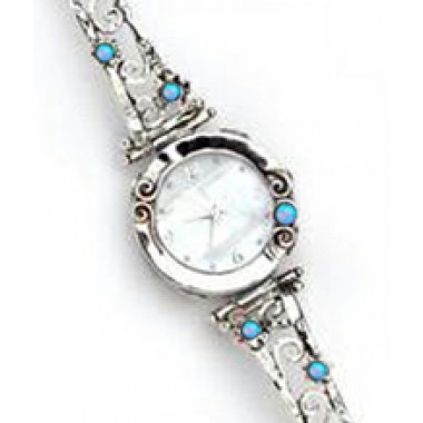 A Round Face Watch with Swirls and Little Opals