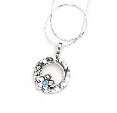 Round Pendant with Opal Daisy Necklace