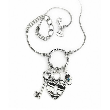 Silver Charm Necklace - Key with Heart Lock
