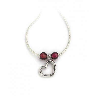 Silver Cutout Heart with Garnets - LAST ONE