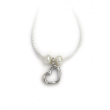 Silver Cutout Heart with Pearls