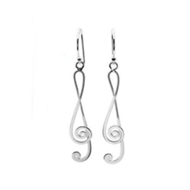 Silver Treble Clef Hook Earrings
