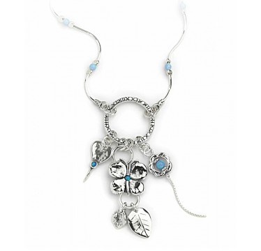 Silver Necklace Charms Pendant with Opal Stones