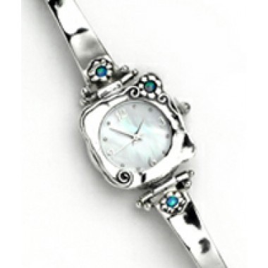 A Silver Watch with Little Daises Set with Round Opal Stones