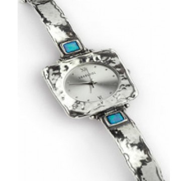 Square Face Silver Watch with 2 Squares Opal Stones