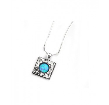 Square pendant with round opal stone on a silver chain - LAST ONE