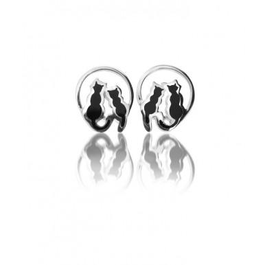 Cats on Moon Stud Earrings