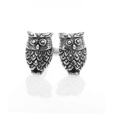 Owl Stud Earrings - Oxidised