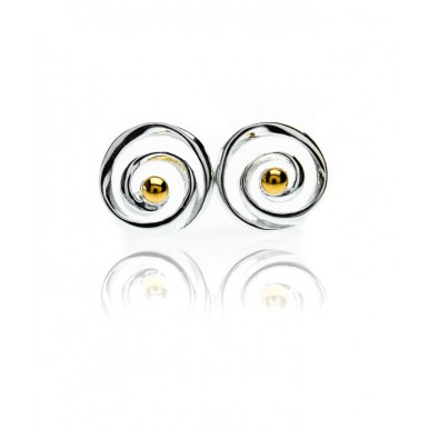 Spiral Stud Earrings with Gold Plating Detail
