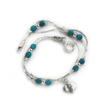 Turquoise Round Bead Bracelet with Heart Charm